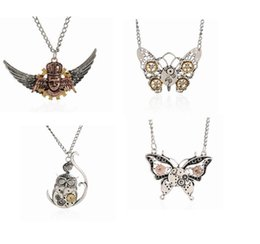 steampunk vintage necklace UK - Epack free 24pcs 56+4.8cm 9Designs Vintage Alloy Steampunk Inspire Owl Pirate key Anchor Pendant necklace