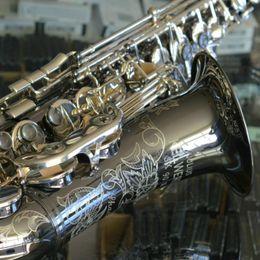 Julius Keilwerth SX90R Тень Bb Tune Тенор-саксофон B Flat Музыкальный инструмент JK SX90R латунь черный никель Резные Sax с принадлежностями на Распродаже
