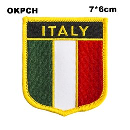 $enCountryForm.capitalKeyWord UK - Italy Flag Embroidery Iron on Patch Embroidery Patches Badges for Clothing PT0206-S