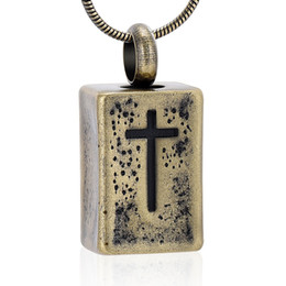 Carving Chains online shopping - LHP200 Stainless Steel Power Block Cremation Urn Necklace For Men Carved Cross Keepsake Memorial Jewelry Pendant Engravable