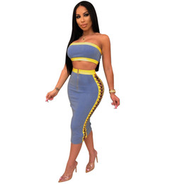 Wholesale Women Sets Sexy Piece Matching Sets Summer Clothes For Women Off Shoulder Crop Top And Side Lace Up Bandage Mid Calf Skirts Club Outfits