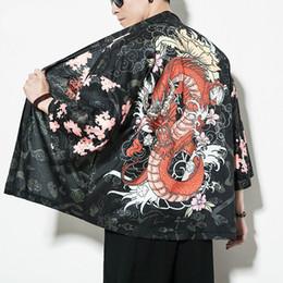 Wholesale chinese dragon kimono resale online - Chinese Style Dragon Kimono Cardigan Men Shirt Hip Hop Streetwear Kimono Shirt Men Japanese Summer
