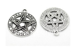 $enCountryForm.capitalKeyWord Australia - 10 pcs Antique Silver Pentacle Pentagram Pendants Charms For Bracelet Necklace Jewelry Making Beads Brand DIY Accessories C1206
