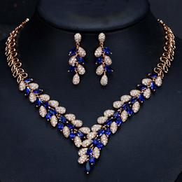 $enCountryForm.capitalKeyWord Australia - Shining Crystals Blue Diamonds Necklace Earrings Sets Gold For Bride Fashion Wedding Jewelry Sets Zircon Gift Water Drop For Women