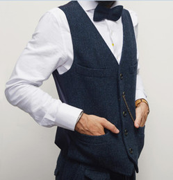 polyester vest pockets for men Canada - Blue Herringbone Groom Vests With Chains Single breasted Bridegroom Vest Wool Slim Fit Two Pockets Best Man Waistcoat For Wedding