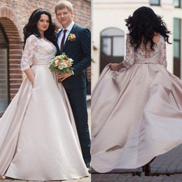 Dubai Dresses Designs online shopping - Plus Size Champagne Wedding Dresses with Half Sleeve Lace Stain Pocket Design V neck Arabic Dubai Garden Beach Wedding Gown