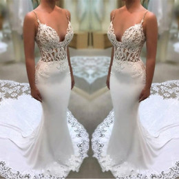 $enCountryForm.capitalKeyWord Canada - Lace Flowers Appliques White Wedding Dresses 2019 Spaghetti Straps Mermaid Illusion Sides Bridal Gowns With Court Train BA994