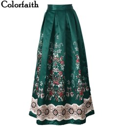7438abc6d6 Muslim Women100cm Non-transparent Fashion Satin Long Skirt Vintage Retro Print  High Waist Pleated Flared Maxi Skirt