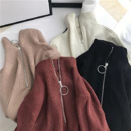 $enCountryForm.capitalKeyWord Australia - Turtleneck autumn ring zipper female slim knit sweater winter long sleeve Korean fashion ins Solid color large code Sweater S-XL