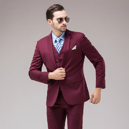 Images Fashionable Suits Australia - Fashionable Groomsmen Notch Lapel Groom Tuxedos Burgundy Men Suits Wedding Prom Dinner Best Man Blazer ( Jacket+Pants+Tie+Vest ) B249