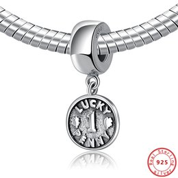 sterling silver figaro bracelet NZ - Authentic 100% 925 Sterling Silver Bead Charm Lucky Penny Coin Dangle Pendant Charms Fit Pandora Bracelets Women Diy Jewelry
