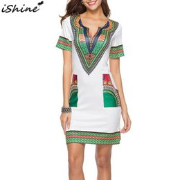 african summer traditional dresses Canada - iSHINE National Style Women's Fashion Summer Traditional African Headdress Print Slim Bodycon Sexy Short Sleeve Dress