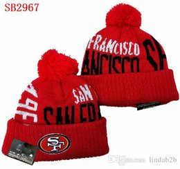silk skull caps men NZ - SF 49 hat San Francisco Beanie Crucial Catch Cuffed Pom one time Women Men Sport Knit Hat All Team Winter Knitted Wool Skull Cap 1000+01