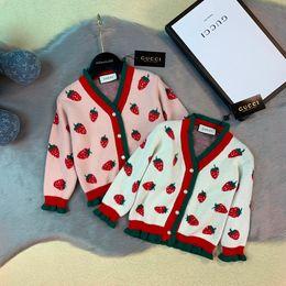 $enCountryForm.capitalKeyWord Australia - Girls sweater kids designer clothing autumn and winter new cotton knit cardigan sweater strawberry pattern design