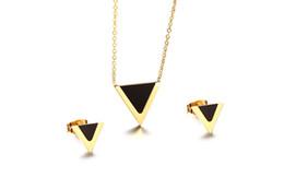 $enCountryForm.capitalKeyWord UK - Stainless Steel Geometric Triangle Jewelry Set European Black Glass V Shaped Stud Earring Pendant Necklace Set for Women Ladies