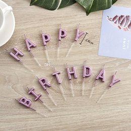 happy birthday plates wholesale NZ - Golden happy birthday letters happy birthday candles children cartoon gold-plated letters yellow candles Party candle cake candle