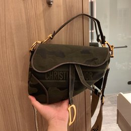 Wholesale Gift box Army Green Embroidered Denim Canvas saddle bag luxury womens designer bags 2 ways size 21 18cm tradingbear