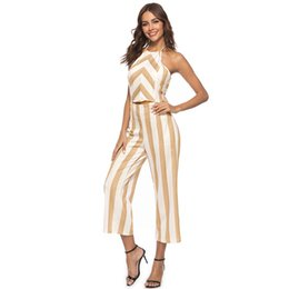 2377fb98871f Sexy Summer Rompers Womens Jumpsuit Contrast Striped Halter Neck Sleeveless  Backless Suits Hollow Out Beach Holiday Partywear