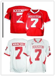 white football jerseys Australia - Cheap custom Case Keenum Houston Cougars #7 White Red NCAA football Jerseys Stitch customizing any name number XS-5XL