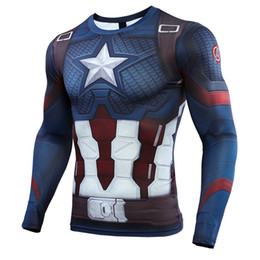 $enCountryForm.capitalKeyWord Australia - Captain American 3d Printed T Shirts Men Avengers 4 Endgame Compression Shirt Cosplay Costume Long Sleeve Tops For Male Cloth J190614