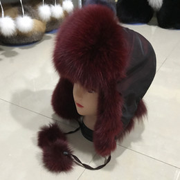 $enCountryForm.capitalKeyWord Australia - Natural Fox Fur Bomber Hats Winter Warm Women Fluffy Genuine Fox Fur Earflap Caps Luxury Quality Russian Lady Real Fox Fur Hat
