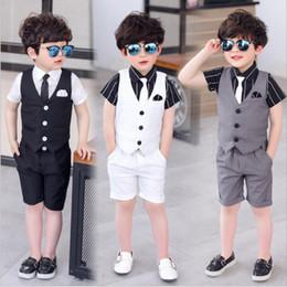 $enCountryForm.capitalKeyWord Australia - Good Quality New Children's suits summer school Vest shirt shorts tie Fashion Kid wedding suits royal black White And