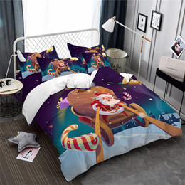 Colorful Printed Bedding NZ - Cartoon Christmas Bedding Set Colorful Santa Sleigh Print Duvet Cover Festival Gift Bed Cover Snow Moon Printed Bedclothes 3Pcs