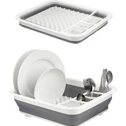 $enCountryForm.capitalKeyWord Australia - Foldable Dish Rack Kitchen Storage Holder Drainer Bowl Tableware Plate Portable Drying Rack Home Shelf Dinnerware Organizer Green Gray