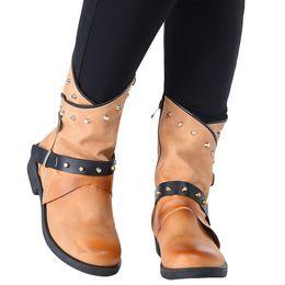 Punk rivet style shoes online shopping - Punk Style Rivet Belt Buckle Shoes Woman Round Toe Zipper Motorcycle Boots Autumn Winter Boots Women Leather Chaussures Femme