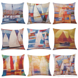 Weave Oil Australia - Oil Painting Sailing Linen Cushion Covers Home Office Sofa Square Pillow Case Decorative Pillow Covers Without Insert(18*18Inch)
