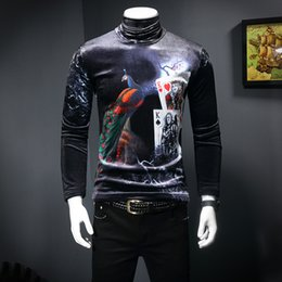 d4211244a Royal Decent T Shirt For Male Camisetas Hombre Autumn Winter Luxury Velvet Long  Sleeve Turtleneck Club TShirt Peacock Print Men