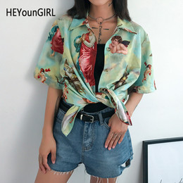 Ladies Half Tee Australia - HEYounGIRL Korean Printed Angel Shirt Women Half Sleeve Vintage T Shirt Ladies Turn-down Collar Harajuku Tee Shirt Women Summer T5190603