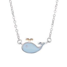 silver dolphin chains NZ - New Desgisn Dolphin Blue Custom Enamel Necklace In Solid Sterling Silver Jewelry For Girls 5pcs A Lot