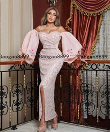 China 2020 luxury Arabic mermaid prom Dress sexy high split pink evening dress puffy sleeves with lace appliqeus Formal Prom Evening Gowns supplier green bamboo pictures suppliers