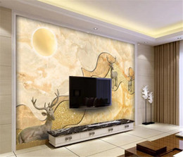 simple bedroom decorations Australia - Simple Marble Texture Sunrise Oriental Abstract Alpine Elk Living Room Bedroom Background Wall Decoration 3d Wallpaper