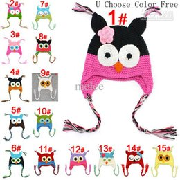 $enCountryForm.capitalKeyWord UK - Toddler Owl Crochet Knit Woolly EarFlap Hat Baby Handmade crochet Hat childrens handmade owl Knitted hat 15Color For Choose 0-2T