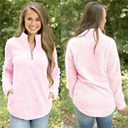 Женщины шерп руно пуловер Осень Толстовка Толстовка 1/4 Zipper V-образный вырез свитер Блуза Зимней Теплая Нечеткий Пушистый Tops Outwear Одежда C92701 на Распродаже
