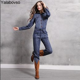 731f3675f22 2018 Spring and Autumn Vintage Denim Playsuit Flower Embroidery Loose Style  Jumpsuit Lady Long Blue Jeans Bodysuit A50-Z40