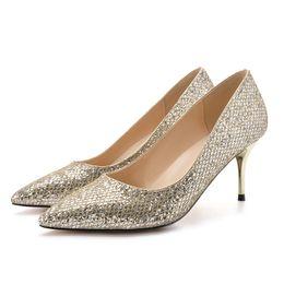 $enCountryForm.capitalKeyWord Australia - 2019 beautiful gold silver women 5cm stiletto 7cm high heel 9cm dress pumps ladies female big size 33-41 sequins bling glitter banquet shoes
