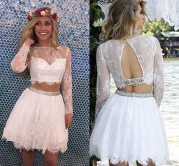 $enCountryForm.capitalKeyWord Australia - Little White Two Piece Short Homecoming Dresses A Line Lace Juniors Sweet 16 Graduation Cocktail Gowns Party Dresses Plus Size Custom Made