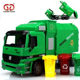 Green Truck Cars Australia - [Gift] Big Size Side Loading Garbage transfer car tricolor green trash traffic sanitation Truck Can Be Lifted With 3 Rubbish Bin