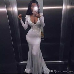 Hot Sexy White Dresses Australia - Hot Sexy White African Prom Dresses For Black Girl Deep V Neck Long Sleeves Appliques Evening Gowns Formal Party Dresses