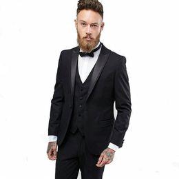 $enCountryForm.capitalKeyWord UK - Black Wedding Tuxedos Slim Fit Suits For Men Groomsmen Suit Three Pieces Cheap Prom Formal Suits (Jacket+Pants+Vest+Tie) 241