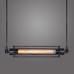 $enCountryForm.capitalKeyWord Australia - Retro black wrought iron pendant lamp vintage industrial stair restaurant decor single led long drop light