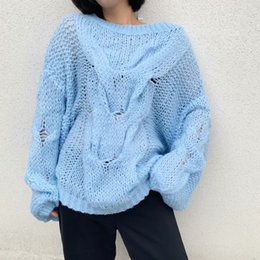 knitted mohair sweater Australia - DEAT 2019 Autumn Long Lantern Sleeve Blue O Neck Mohair Loose Free Size Sweater Women Knitted Pullovers Women MG390