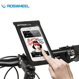 pvc bike bag NZ - ROSWHEEL Bicycle Front Cell Phone Bag Touchscreen Phone Bag PVC Waterproof Cycling Package Tube Pannier Bike Frame Storage #331807