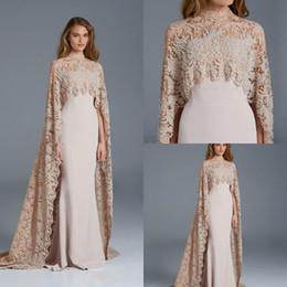 Paolo Sebastian Silver Australia - new paolo sebastian prom dresses high neck dubai arabic evening formal dresses with cape mantle elegant lace mermaid Maternity Gowns 2018
