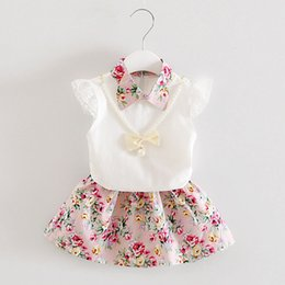 $enCountryForm.capitalKeyWord NZ - Toddler Girl Outfits 2019 Summer Baby Clothing Set Lace Short Sleeve Tops Floral Dress Two Piece Suit for Girls 1 2 3 4 Years