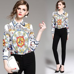 a3549cd535 New 2019 Spring Runway Luxury Print Collar Designer Blouses Womens Ladies  Casual Office Button Front Lapel Neck Long Sleeve Slim Shirts Tops
