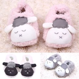 Slipper Sheep online shopping - 0 M Baby Boys Girls Lovely Cartoon Sheep Floor Shoes Winter Warm Plush Booties Infant Soft Slipper Crib Shoes First Walkers